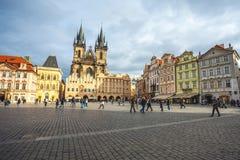 25 01 2018 Πράγα, Δημοκρατία της Τσεχίας - παλαιές πλατεία της πόλης και εκκλησία ο Στοκ εικόνα με δικαίωμα ελεύθερης χρήσης
