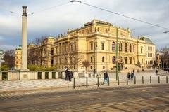 24 01 2018 Πράγα, Δημοκρατία της Τσεχίας - Rudolfinum που χτίζει τον Ιανουάριο το Π Στοκ Εικόνες