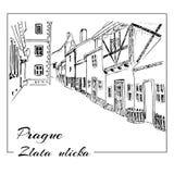 Πράγα Διανυσματικό συρμένο χέρι σκίτσο Ulicka Zlata - χρυσή οδός απεικόνιση αποθεμάτων