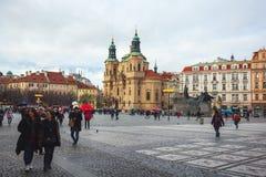 25 01 2018 Πράγα, τσεχικό Respublic - εκκλησία του Άγιου Βασίλη στο Ο Στοκ Φωτογραφίες