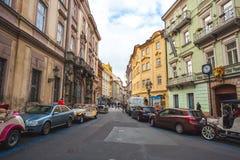 25 01 2018 Πράγα, τσεχικό Respublic - παλαιά αυτοκίνητα για μια περιήγηση με τα πόδια Στοκ Εικόνες