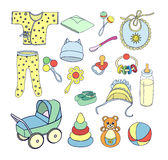 πράγματα και παιχνίδια για τα εικονίδια μωρών καθορισμένα Στοκ Φωτογραφίες