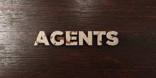 Πράκτορες - βρώμικος ξύλινος τίτλος στο σφένδαμνο - τρισδιάστατο δικαίωμα ελεύθερη εικόνα αποθεμάτων Στοκ Εικόνες