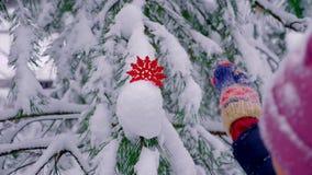Πράσινα έλατα στο χιόνι το χειμώνα απόθεμα βίντεο