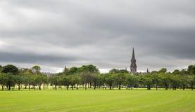 Πράσινα δέντρα δαμάσκηνων χορτοταπήτων στο πάρκο λιβαδιών, Εδιμβούργο Στοκ φωτογραφίες με δικαίωμα ελεύθερης χρήσης