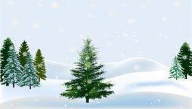 Πράσινα έλατα στο άσπρο χιόνι διανυσματική απεικόνιση