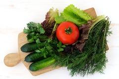 Πράσινα αγγούρια, ντομάτα και φρέσκα χορτάρια Στοκ φωτογραφία με δικαίωμα ελεύθερης χρήσης