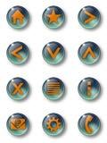 Πράσινα βασικά στοιχεία 01 γυαλιού κουμπιών στοκ φωτογραφίες με δικαίωμα ελεύθερης χρήσης