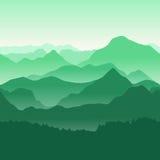 Πράσινα βουνά στην ομίχλη Άνευ ραφής ανασκόπηση Στοκ Εικόνες
