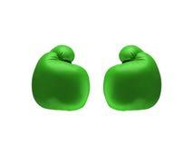 Πράσινα εγκιβωτίζοντας γάντια Στοκ Εικόνες