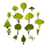 Πράσινα εικονίδια δέντρων καθορισμένα, επίπεδο ύφος Στοκ Εικόνες