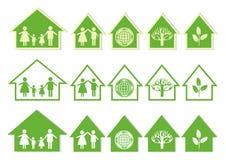 Πράσινα εικονίδια σπιτιών σειράς Στοκ Εικόνα