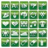 Πράσινα εικονίδια 76-100 Ιστού Στοκ Εικόνες