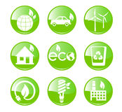 Πράσινα, εικονίδια οικολογίας και περιβάλλοντος Στοκ φωτογραφία με δικαίωμα ελεύθερης χρήσης