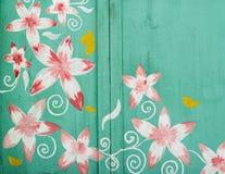Πράσινα εκλεκτής ποιότητας λουλούδια πορτών Στοκ Εικόνα