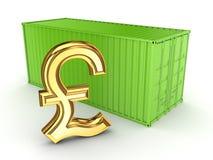 Πράσινα εμπορευματοκιβώτιο και σημάδι της λίρας αγγλίας. Στοκ εικόνες με δικαίωμα ελεύθερης χρήσης