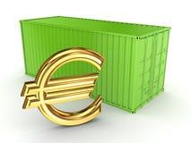 Πράσινα εμπορευματοκιβώτιο και σημάδι του ευρώ. Στοκ Εικόνα