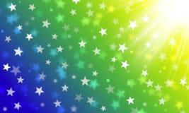 Πράσινα, κίτρινος, μπλε, τα χρώματα της βραζιλιάνας σημαίας, άσπρα αστέρια bokeh, γιορτάζουν, εορτασμός, καρναβάλι, φωτεινό υπόβα διανυσματική απεικόνιση