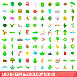 100 πράσινα και εικονίδια οικολογίας καθορισμένα, ύφος κινούμενων σχεδίων Στοκ εικόνες με δικαίωμα ελεύθερης χρήσης