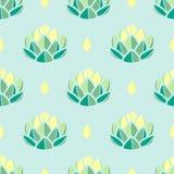 Πράσινα και κίτρινα succulents κρητιδογραφιών στο μπλε υπόβαθρο κρητιδογραφιών Στοκ Εικόνες