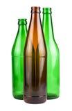 Πράσινα και καφετιά κενά μπουκάλια Στοκ φωτογραφίες με δικαίωμα ελεύθερης χρήσης
