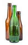 Πράσινα και καφετιά κενά μπουκάλια Στοκ Φωτογραφίες