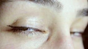 Πράσινα και καφετιά μάτια ενός όμορφου νέου κοριτσιού Το κορίτσι εξετάζει τη κάμερα, αναβοσβήνει και χαμογελά απόθεμα βίντεο