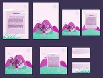 Πράσινα και ρόδινα ζωηρόχρωμα φυλλάδια, επαγγελματικές κάρτες με το σχέδιο κάστρων Στοκ φωτογραφία με δικαίωμα ελεύθερης χρήσης
