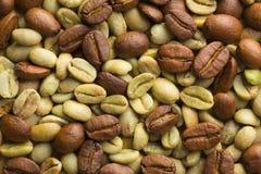 Πράσινα και ψημένα φασόλια καφέ στοκ εικόνες