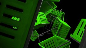 Πράσινα καλάθια αγορών στο μαύρο υπόβαθρο απεικόνιση αποθεμάτων