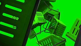 Πράσινα καλάθια αγορών στο πράσινο υπόβαθρο διανυσματική απεικόνιση