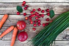 Πράσινα κρεμμύδια, πλυμένα καρότα, κόκκινες ντομάτες, λαχανικά Στοκ Εικόνα