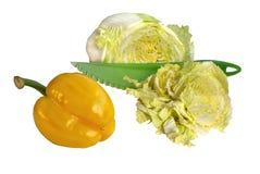 πράσινα λαχανικά μαχαιριών Στοκ Εικόνα