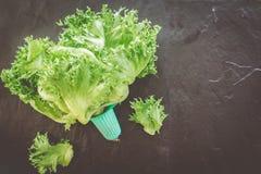 Πράσινα λαχανικά στο μαύρο υπόβαθρο Στοκ Φωτογραφίες