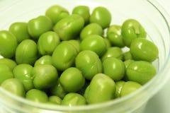 Πράσινα μπιζέλια στο σαφές πλαστικό φλυτζάνι Στοκ φωτογραφία με δικαίωμα ελεύθερης χρήσης