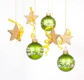 Πράσινα μπιχλιμπίδια Χριστουγέννων Στοκ εικόνα με δικαίωμα ελεύθερης χρήσης