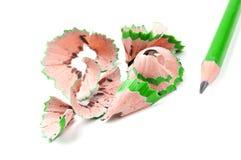 πράσινα ξέσματα μολυβιών Στοκ Φωτογραφίες