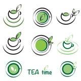 Πράσινα λογότυπα τσαγιού Απεικόνιση αποθεμάτων