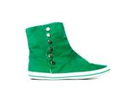 πράσινα πάνινα παπούτσια Στοκ εικόνες με δικαίωμα ελεύθερης χρήσης