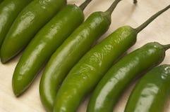 Πράσινα πιπέρια τσίλι σε έναν υπόλοιπο κόσμο Στοκ εικόνες με δικαίωμα ελεύθερης χρήσης