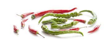 Πράσινα πιπέρι και τσίλι. Στοκ Φωτογραφία