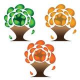 Πράσινα, πορτοκαλιά και κόκκινα δέντρα Στοκ εικόνα με δικαίωμα ελεύθερης χρήσης