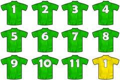 Πράσινα πουκάμισα ομάδων Στοκ φωτογραφίες με δικαίωμα ελεύθερης χρήσης