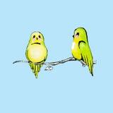 Πράσινα πουλιά Watercolor Στοκ Εικόνες