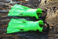 Πράσινα πτερύγια βατραχοπέδιλων στην άμμο και στο νερό της παραλίας δ στοκ φωτογραφία