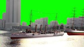 Πράσινα σκάφη ουρανού οθόνης από όλο το είδος στην προκυμαία διανυσματική απεικόνιση