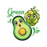 Πράσινα σταφύλι χαρακτήρα σχεδίου & κινούμενα σχέδια αβοκάντο διανυσματική απεικόνιση