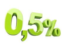Πράσινα 0 στιλπνό τρισδιάστατο σημάδι 5 τοις εκατό απεικόνιση αποθεμάτων