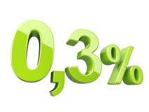 Πράσινα 0 στιλπνό τρισδιάστατο σημάδι 3 τοις εκατό απεικόνιση αποθεμάτων