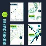 Πράσινα σχεδιαγράμματα προτύπων φυλλάδιων μέγα καθορισμένα, σχέδιο κάλυψης, ετήσια έκθεση, περιοδικό, ιπτάμενο, φυλλάδιο A4 με τι απεικόνιση αποθεμάτων